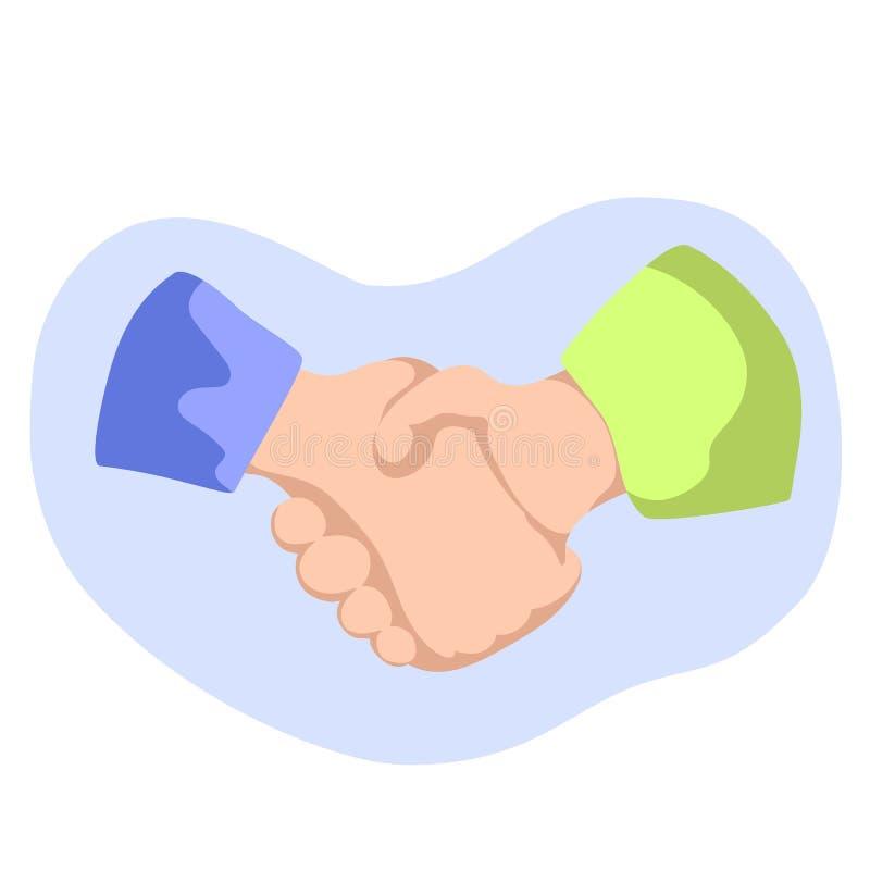 Ilustração lisa do estilo do aperto de mão no branco Mãos de agitação de duas pessoas Negócio ou confiança segura no conceito do  ilustração do vetor