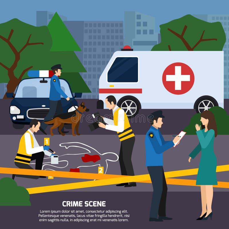 Ilustração lisa do estilo da cena do crime ilustração stock