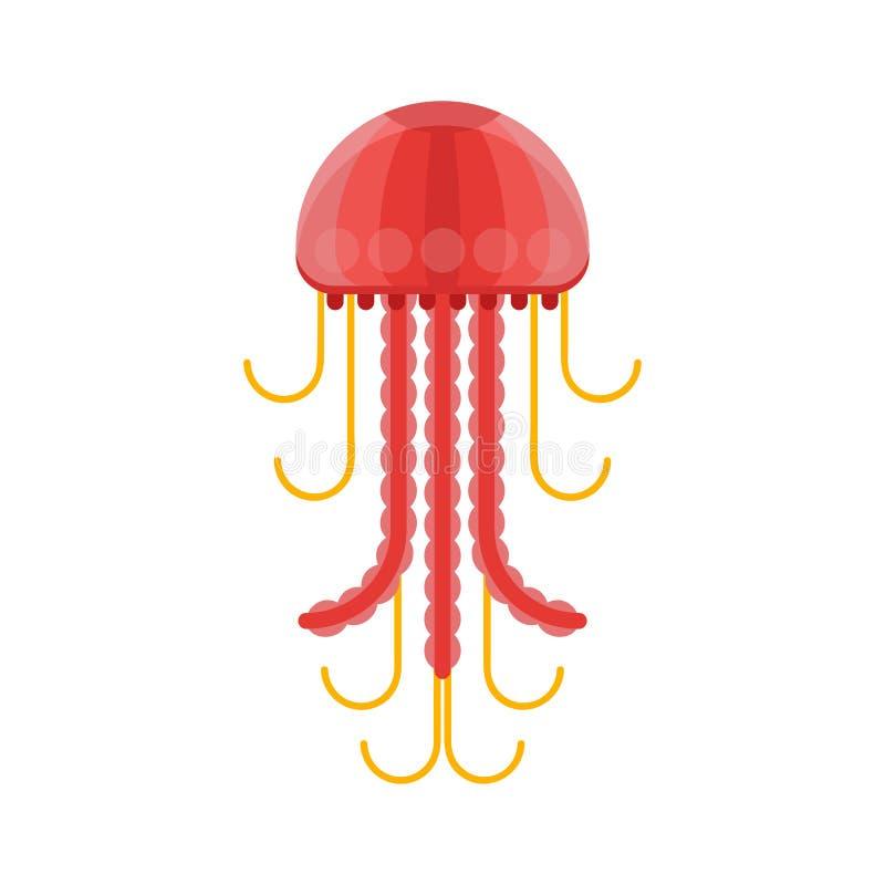 Ilustração lisa do estilo do vetor de medusas ilustração stock