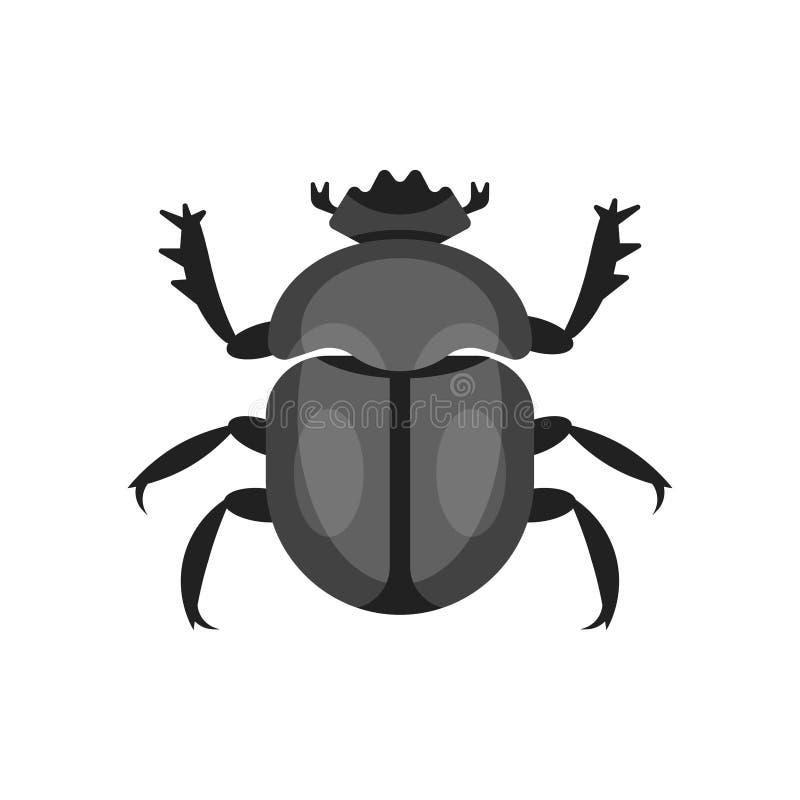 Ilustração lisa do estilo do vetor do besouro do escaravelho ilustração stock
