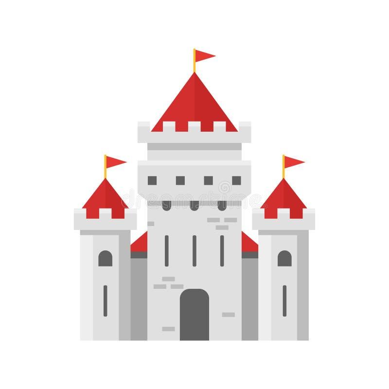 Ilustração lisa do estilo do vetor do castelo feericamente ilustração stock