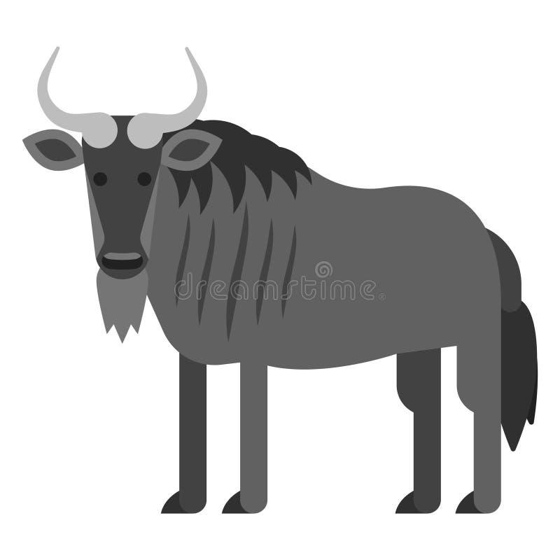 Ilustração lisa do estilo do vetor do gnu preto ilustração do vetor