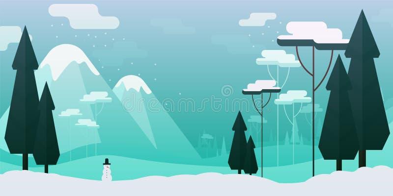 Ilustração lisa do estilo do vetor Paisagem do inverno com montanhas e boneco de neve das árvores imagem de stock