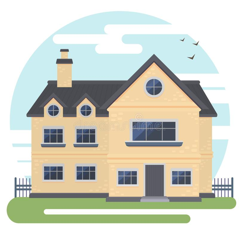 Ilustração lisa do exterior do estilo do vetor Casa moderna na rua com o céu no fundo foto de stock royalty free