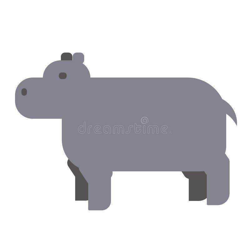 Ilustração lisa do hipopótamo ilustração stock