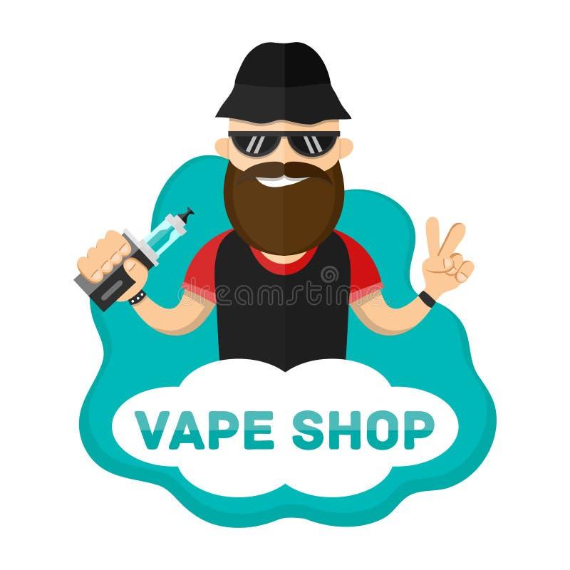 Ilustração lisa do homem com caráter do vape Logotipo da loja de Vape ilustração royalty free