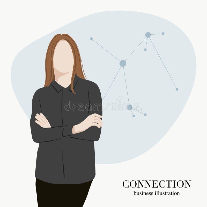 Ilustração lisa do negócio da mulher Projeto digital dos trabalhos em rede remotos da conexão Processo de transmissão de dados Po ilustração stock