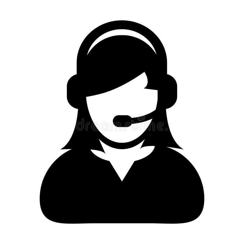 Ilustração lisa do pictograma da cor do vetor do ícone da assistência e apoio do cuidado do cliente da mulher ilustração royalty free