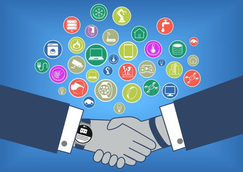 Ilustração lisa do projeto da transação de negócio no Internet da era das coisas com agitação da mão e o relógio esperto ilustração royalty free