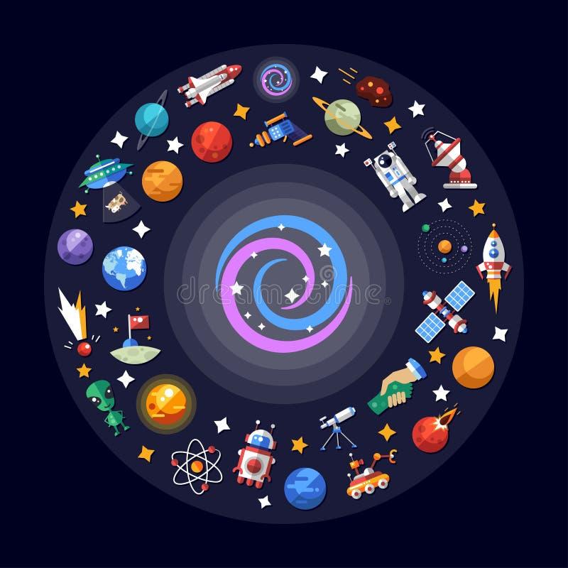 Ilustração lisa do projeto de ícones do espaço e ilustração stock