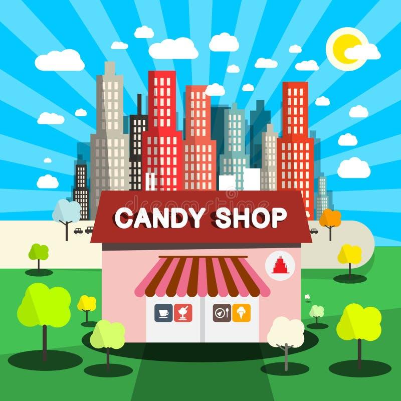 Ilustração lisa do projeto do vetor da loja dos doces ilustração royalty free
