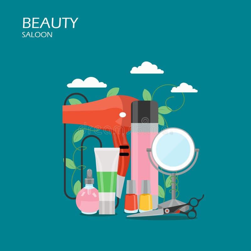 Ilustração lisa do projeto do estilo do vetor do bar da beleza ilustração stock