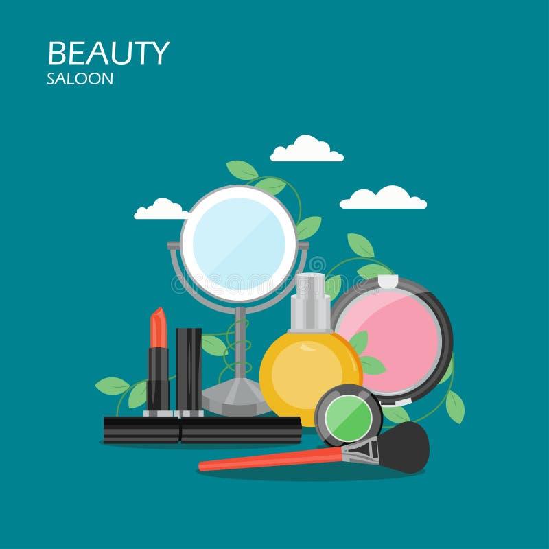 Ilustração lisa do projeto do estilo do vetor do bar da beleza ilustração royalty free