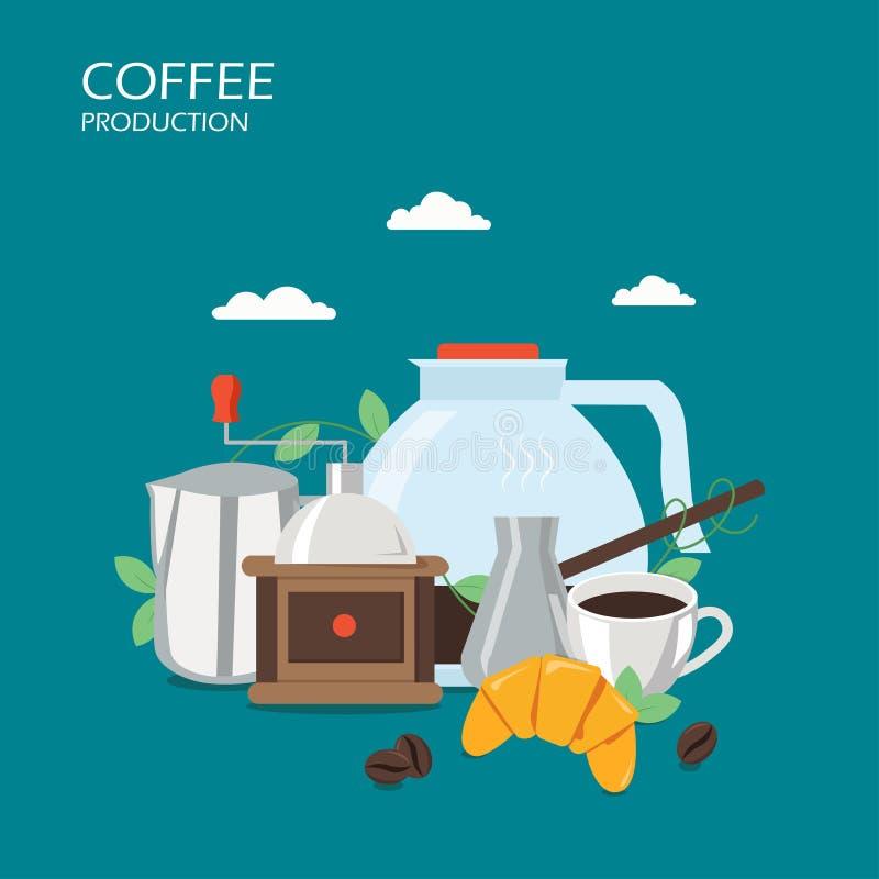 Ilustração lisa do projeto do estilo do vetor da produção do café ilustração do vetor