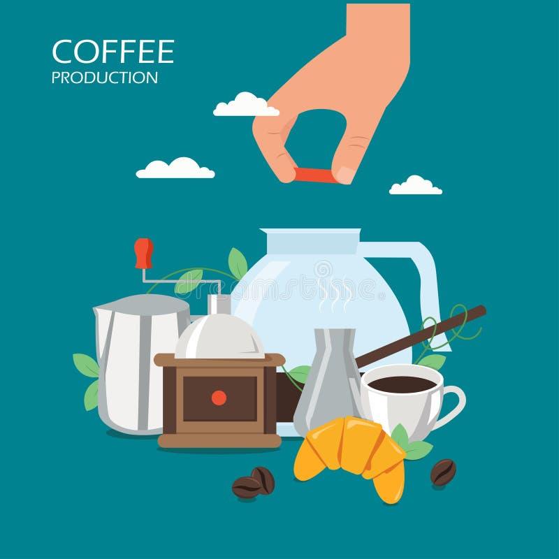 Ilustração lisa do projeto do estilo do vetor da produção do café turco ilustração stock