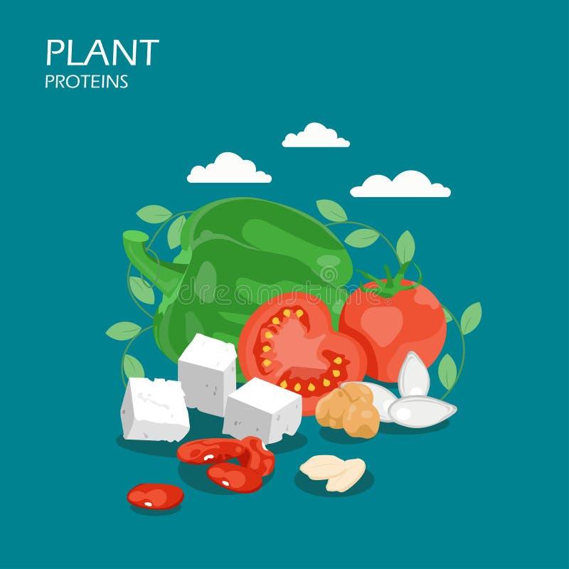 Ilustração lisa do projeto do estilo do vetor das proteínas de planta ilustração royalty free