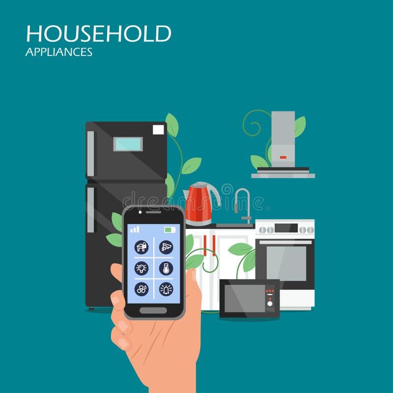 Ilustração lisa do projeto do estilo do vetor dos aparelhos eletrodomésticos ilustração royalty free