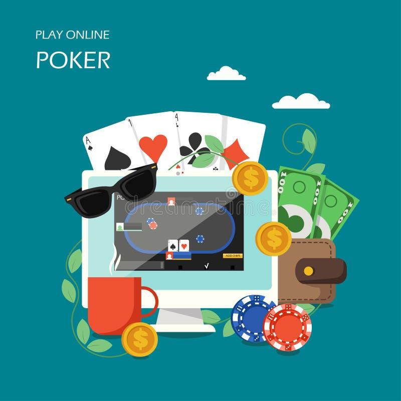 Ilustração lisa do projeto do estilo do vetor em linha do pôquer ilustração stock