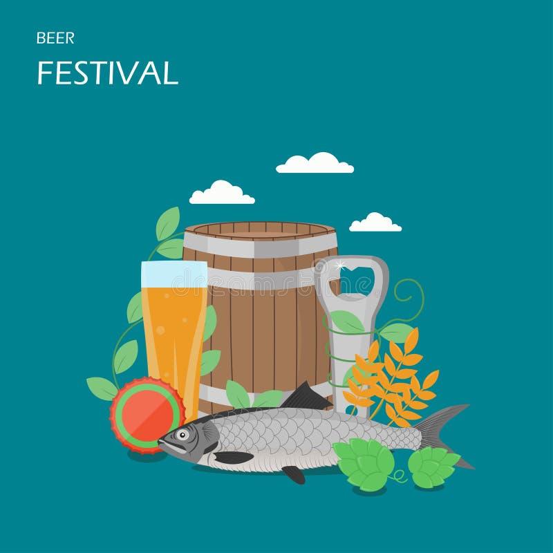 Ilustração lisa do projeto do estilo do vetor do festival da cerveja ilustração do vetor