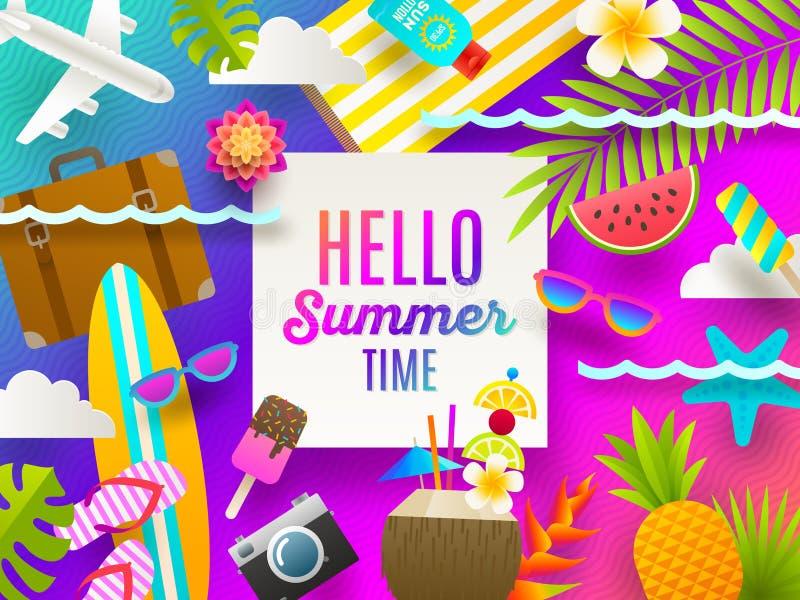 Ilustração lisa do projeto Férias de verão e coisas e artigos das férias da praia em um fundo brilhante do inclinação ilustração do vetor