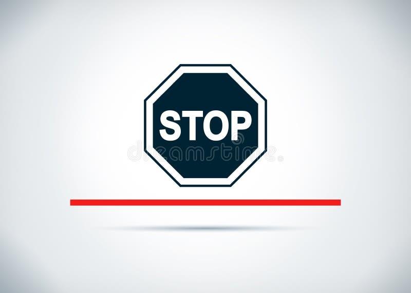 Ilustração lisa do projeto do fundo do sumário do ícone do sinal da parada ilustração stock
