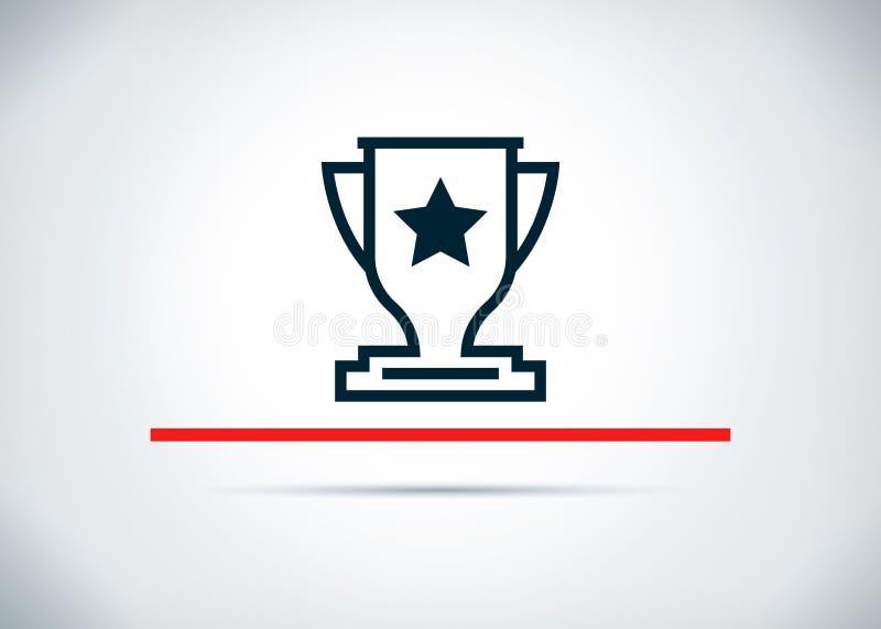 Ilustração lisa do projeto do fundo do sumário do ícone do troféu ilustração royalty free