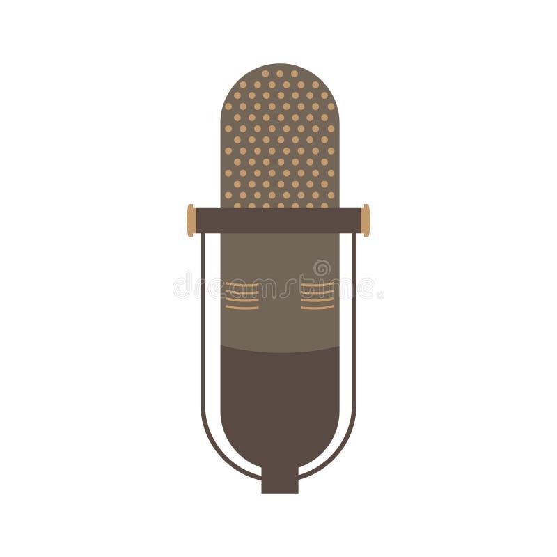 Ilustração lisa do projeto do vetor do ícone do microfone velho ilustração do vetor