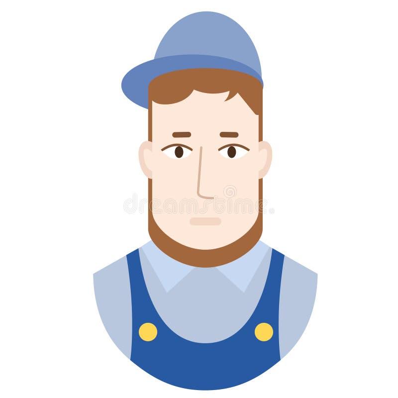Ilustração lisa do trabalhador no branco ilustração do vetor