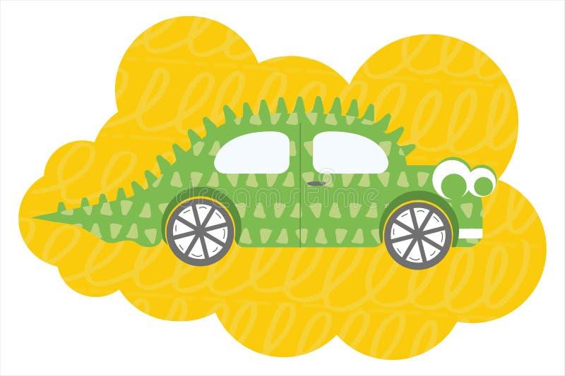 Ilustração lisa do vetor do carro de Dino dos desenhos animados ilustração do vetor