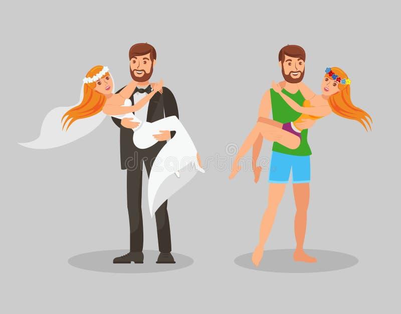 Ilustração lisa do vetor do casamento e da lua de mel ilustração do vetor