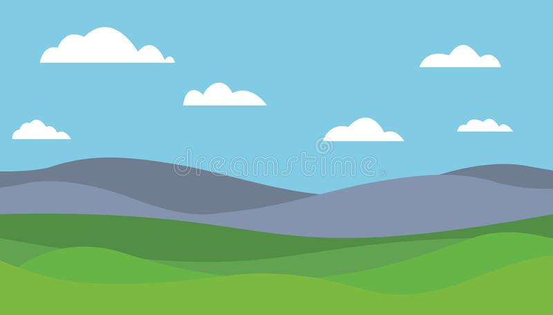 Ilustração lisa do vetor colorido dos desenhos animados da paisagem da montanha ilustração stock