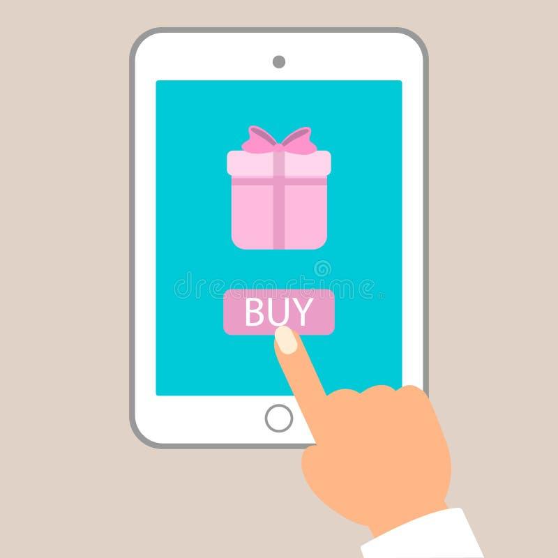 Ilustração lisa do vetor do comércio eletrónico Botão da compra do impulso do homem no PC da tabuleta para comprar o presente ilustração do vetor