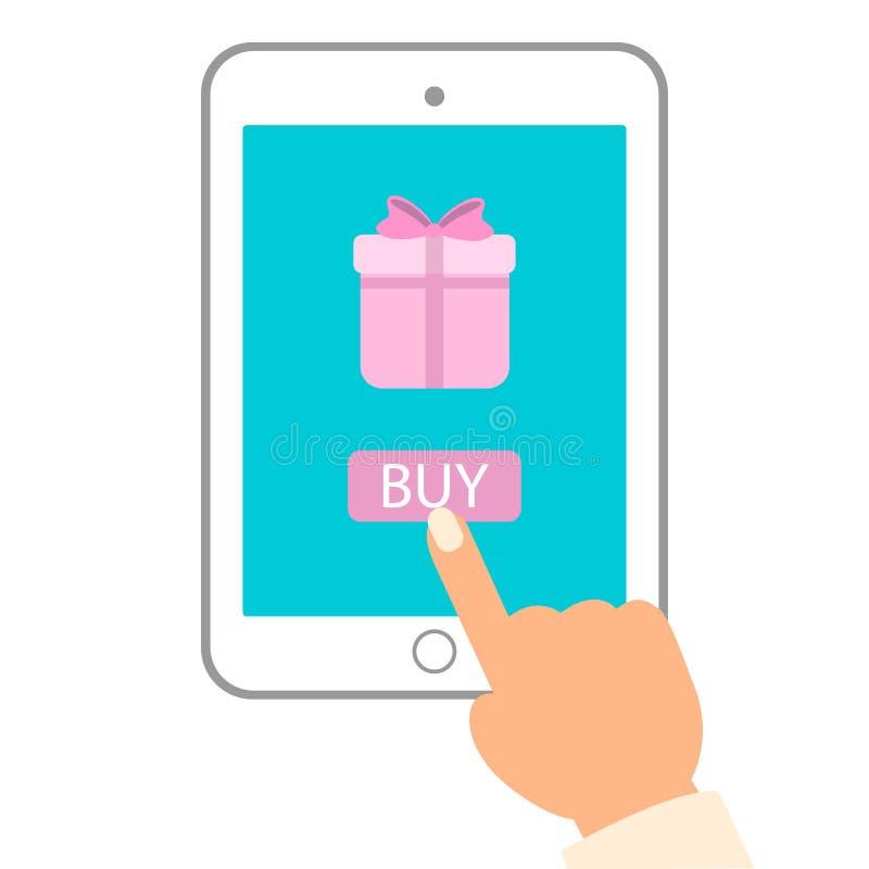 Ilustração lisa do vetor do comércio eletrónico Botão da compra do impulso do homem no PC da tabuleta para comprar o presente ilustração stock