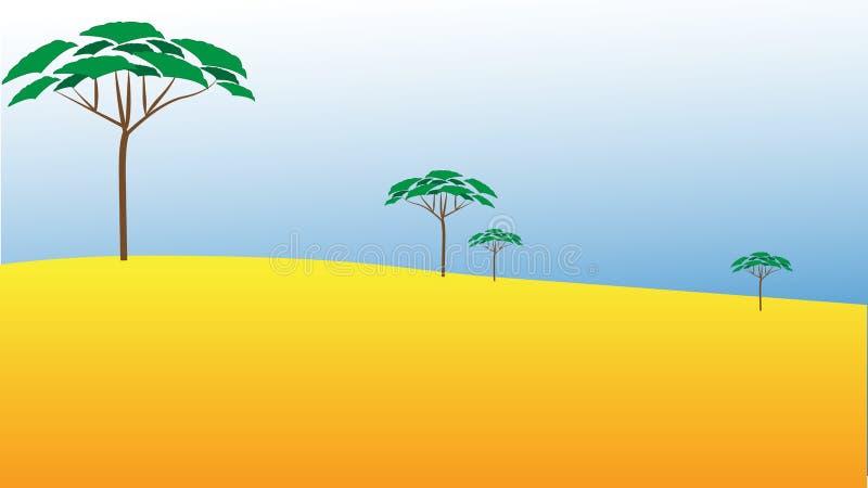 Ilustração lisa do vetor com paisagem africana Estilo das crian?as ilustração stock