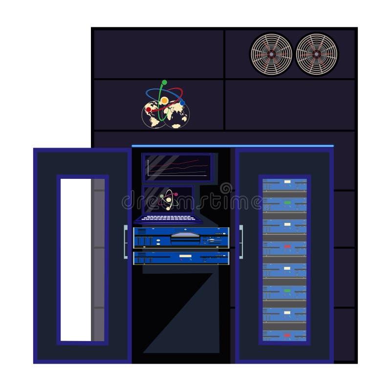 Ilustração lisa do vetor do computador do quantum ilustração stock