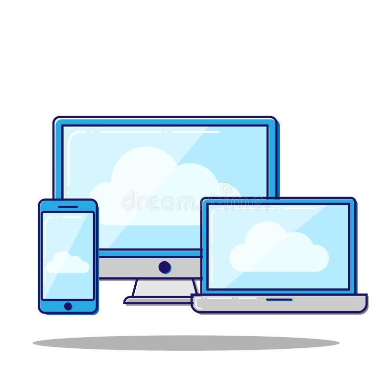 Ilustração lisa do vetor do conceito de computação da nuvem em dispositivos eletrónicos diferentes ilustração do vetor