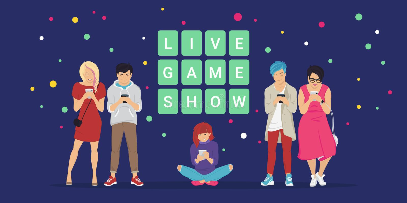 Ilustração lisa do vetor do conceito móvel vivo do app do concurso televisivo do questionário em linha ilustração royalty free