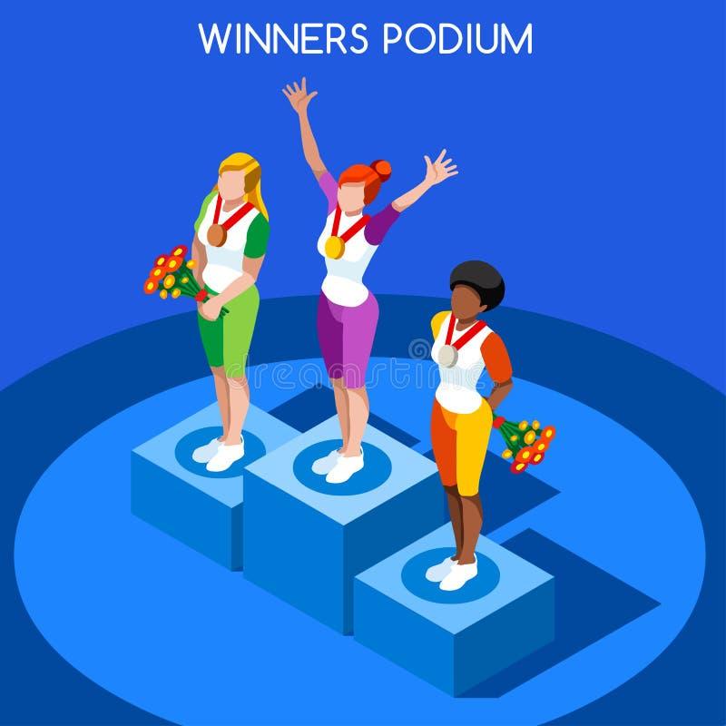 Ilustração lisa do vetor 3D dos jogos do verão do pódio do vencedor ilustração royalty free