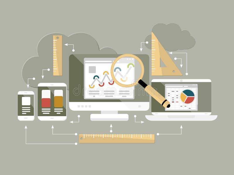 Ilustração lisa do vetor da analítica do Web site do projeto ilustração stock