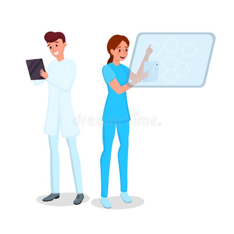 Ilustração lisa do vetor da automatização da medicina Doutor e enfermeira novos de sorriso com caráteres das tabuletas Médicos es ilustração royalty free