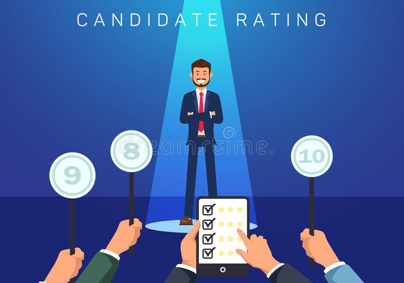 Ilustração lisa do vetor da avaliação do candidato da bandeira ilustração stock
