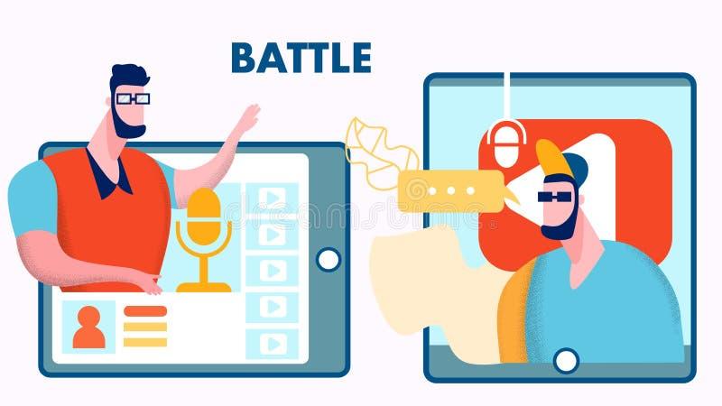 Ilustração lisa do vetor da batalha do Blogger do Internet ilustração stock