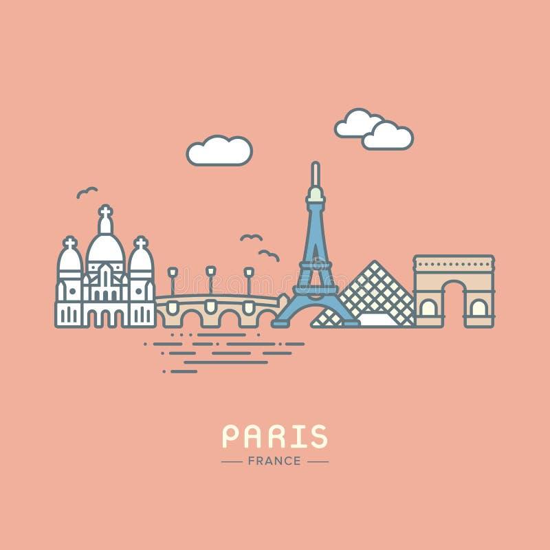 Ilustração lisa do vetor da cidade de Paris ilustração stock