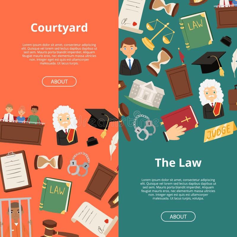 Ilustração lisa do vetor da conformidade reguladora legal da bandeira do juiz da corte do negócio do advogado de justiça Homens d ilustração stock