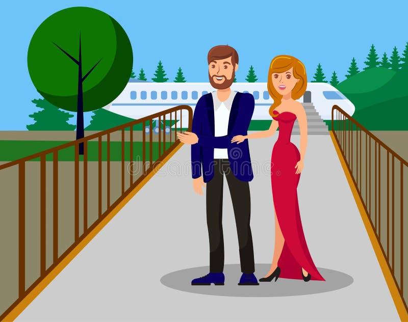 Ilustração lisa do vetor da cor da chegada da pessoa do VIP ilustração royalty free
