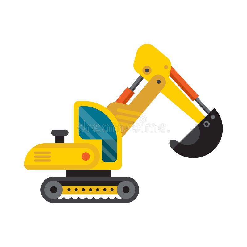 Ilustração lisa do vetor da escavadora especial amarela do carregador do veículo da maquinaria da máquina escavadora ilustração stock