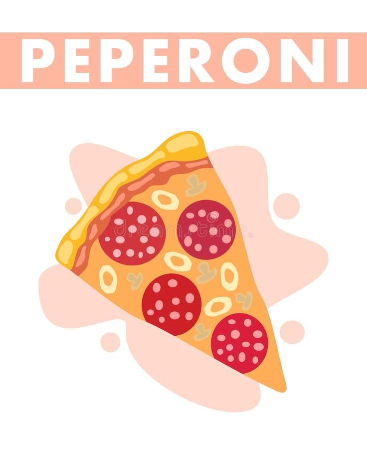 Ilustração lisa do vetor da fatia da pizza de Pepperoni ilustração stock