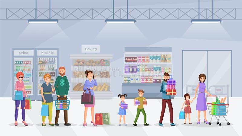 Ilustração lisa do vetor da fila do supermercado ilustração royalty free