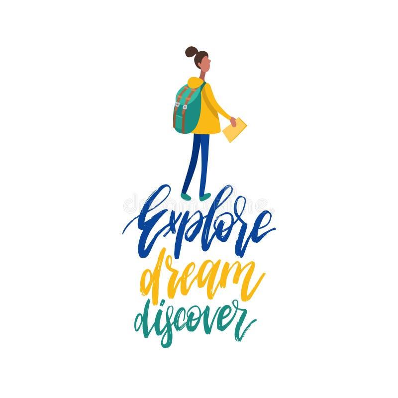 Ilustração lisa do vetor da menina de passeio com a trouxa no estilo minimalista Explore, sonhe, descubra, frase escrita à mão ilustração stock