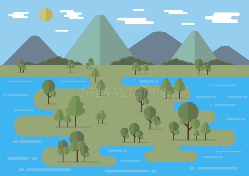 Ilustração lisa do vetor da paisagem com árvores, rio, montanhas e as nuvens lisas editable ilustração stock